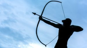 An archer. An archer is the symbol for Sagittarius